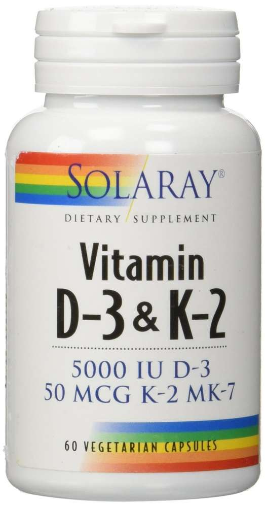Vitamina D-3 & K-2 (MK7) 60 cápsulas vegetales de Solaray
